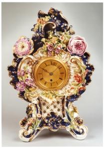 Floral porcelain clock by Adam Thomson, New Bond Street, London. Circa 1840. Raffety Ltd.